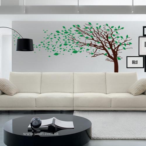 Интерьерная виниловая наклейка на обои Дерево с листьями на ветру (самоклеющаяся пленка оракал, декор стены)