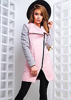 Молодежное пальто на молнии из двухцветного кашемира (4 цвета)