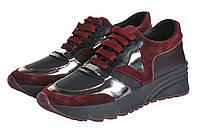 Женские кроссовки СК на высокой подшве  цвет бордо