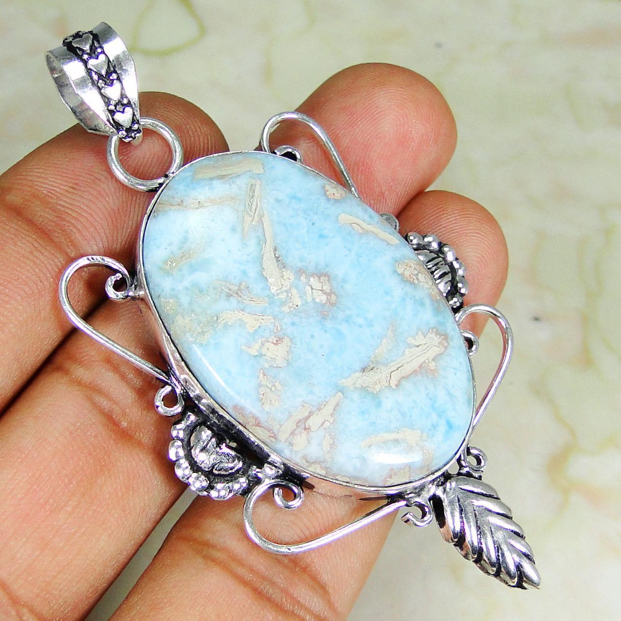Ларимар кулон с натуральным ларимаром в серебре Доминикана
