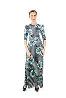 Платье трикотажное длинное в пол с ромашками П188, фото 1