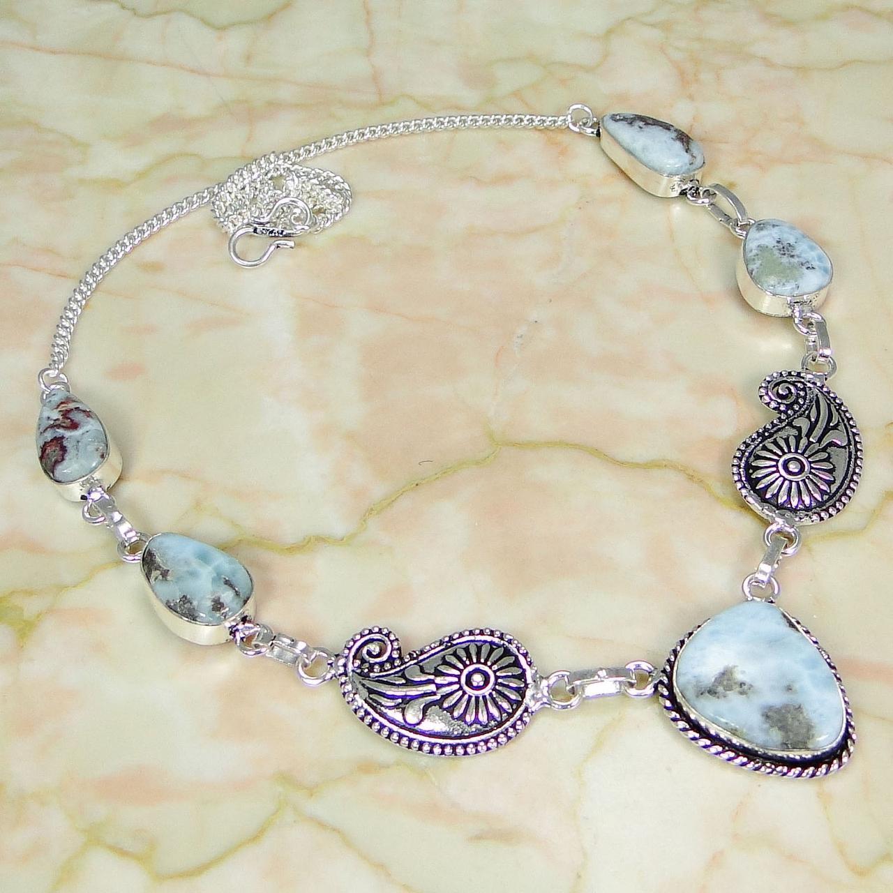 Ларимар ожерелье с натуральным ларимаром в серебре Доминикана
