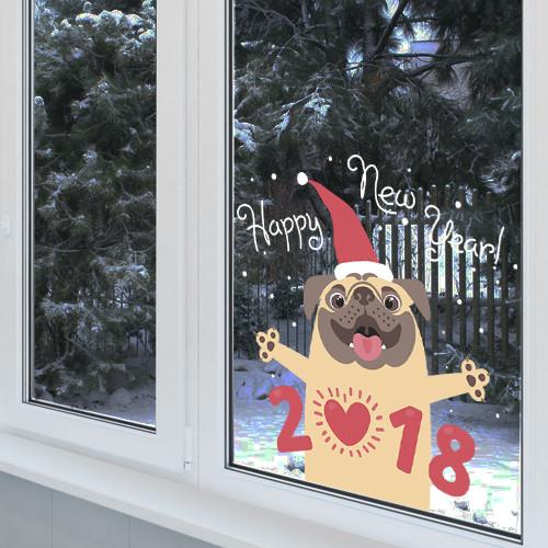Наклейка новогодняя собака Мопс 2018  (декор стен, наклейки на обои, стены, окна, офисы)
