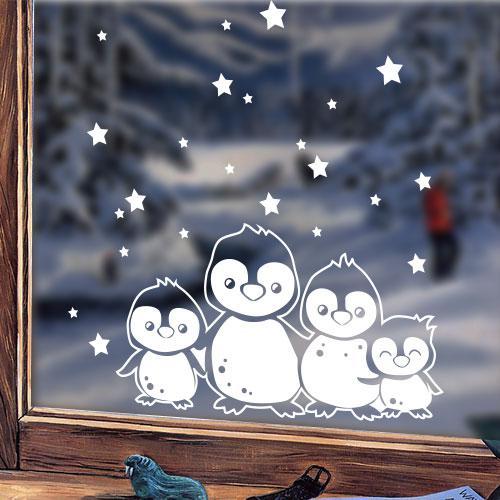 Новогодняя интерьерная наклейка Зимние пингвины (наклейки на стекла, окна, праздничная наклейка)