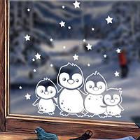 Новогодняя интерьерная наклейка Зимние пингвины (наклейки на стекла, окна, праздничная наклейка), фото 1