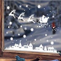 Интерьерная новогодняя наклейка на окно С Новым годом! (наклейки на стекло, санта, олени, домики)