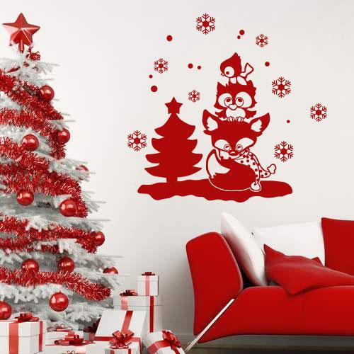 Интерьерная новогодняя наклейка Зимние зверюшки (новогодний декор, елка, самоклеющаяся пленка)