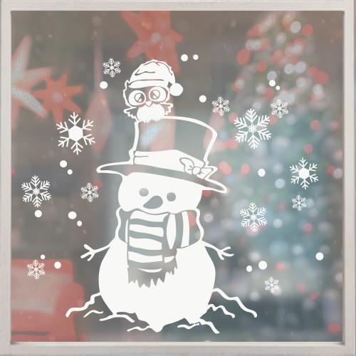 Новогодняя наклейка Веселый снеговик (пленка на окна, стекла, снежинки, декор окон)