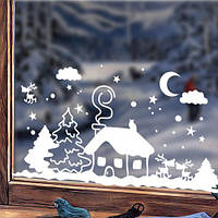 Новогодняя виниловая наклейка Заснеженный домик (наклейки на окна, стекла, снежинки, елки), фото 1