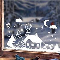 Новогодняя виниловая наклейка Заснеженный домик (наклейки на окна, стекла, снежинки, елки)