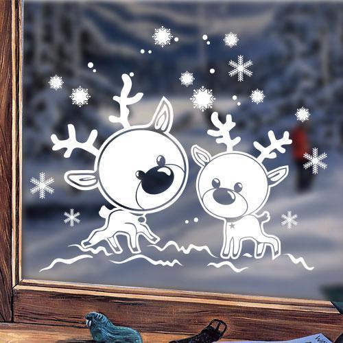 Виниловая новогодняя наклейка Олени (милые наклейки на окна, стекла, снежинки)