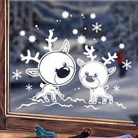 Виниловая новогодняя наклейка Олени (милые наклейки на окна, стекла, снежинки), фото 1