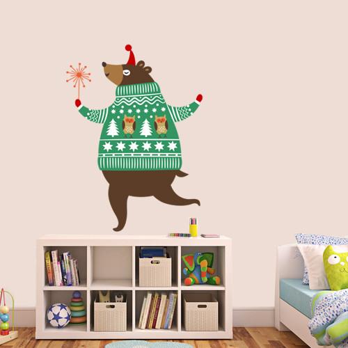 Наклейка интерьерная новогодняя Праздничный медведь (новогодний декор, наклейки на стены, окна, обои