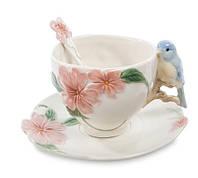 """Фарфоровая чайная пара """"Голубая птица Счастья"""" (Pavone) CMS - 54/ 1, фото 1"""