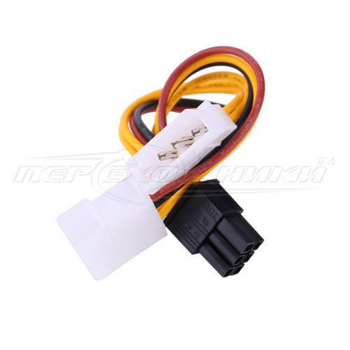 Кабель питания для видеокарт 6 pin PCI-E to 2x Molex, 14 см