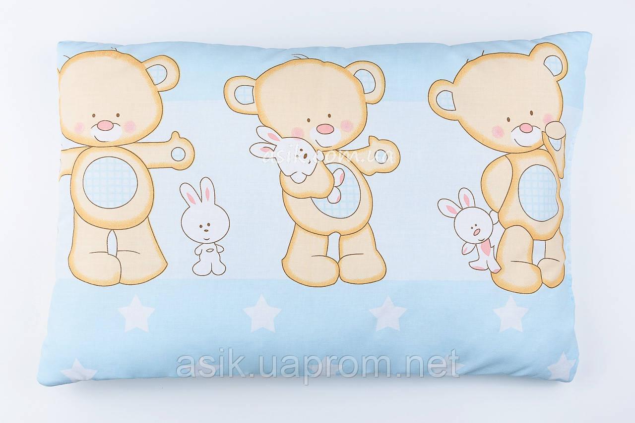 """Подушка для новорожденных голубого цвета """"Мишка с зайчиком"""" 60*40 см"""