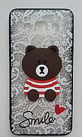 Чехол Мишка Smile Samsung S7 Edge (G935) (White)