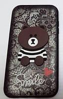 Чехол Мишка Smile Samsung S7 Edge (G935) (Black)