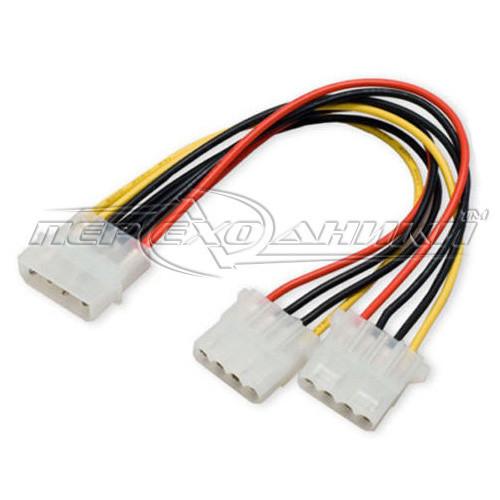 Переходник кабель Molex 4 pin (M)  to 2x Molex (F) питание