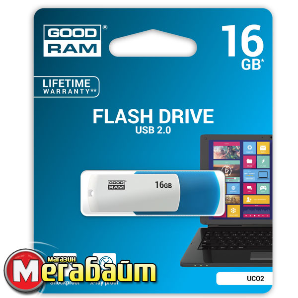Flash Drive USB 16GB GOODRAM UCO2 (Colour Mix) Blue/White (UCO2-0160MXR11)