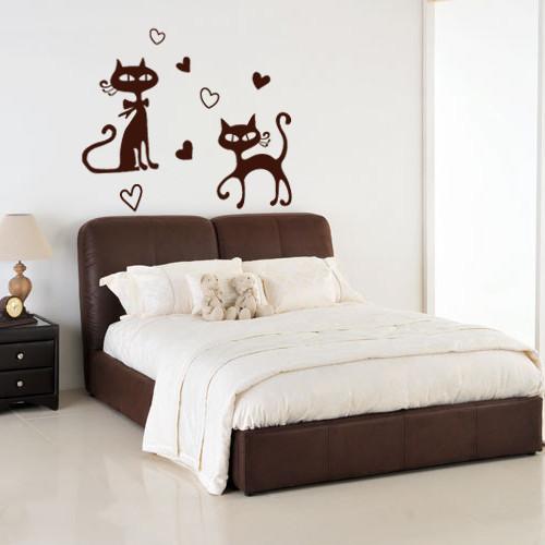 Интерьерная виниловая наклейка Романтические кошки (самоклеющаяся пленка)