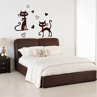 Интерьерная виниловая наклейка Романтические кошки (самоклеющаяся пленка), фото 1