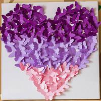 Декоративные бабочки Панно Сердце 2 (3д декор на холсте)