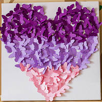 Декоративные бабочки Панно Сердце 2 (3д декор на холсте), фото 1