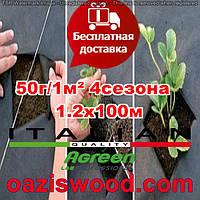 Агроволокно p-50g 1.2*100м черное AGREEN 4сезона Итальянское качество, фото 1