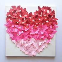 Декоративные бабочки Панно Сердце (3Д бабочки из картона на холсте, декор трафарет)