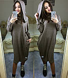 Платье свободного кроя, рукав летучая мышь с капюшоном / ангора / Украина, фото 8