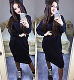 Платье свободного кроя, рукав летучая мышь с капюшоном / ангора / Украина, фото 7