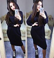 Платье свободного кроя, рукав летучая мышь с капюшоном / ангора / Украина, фото 1
