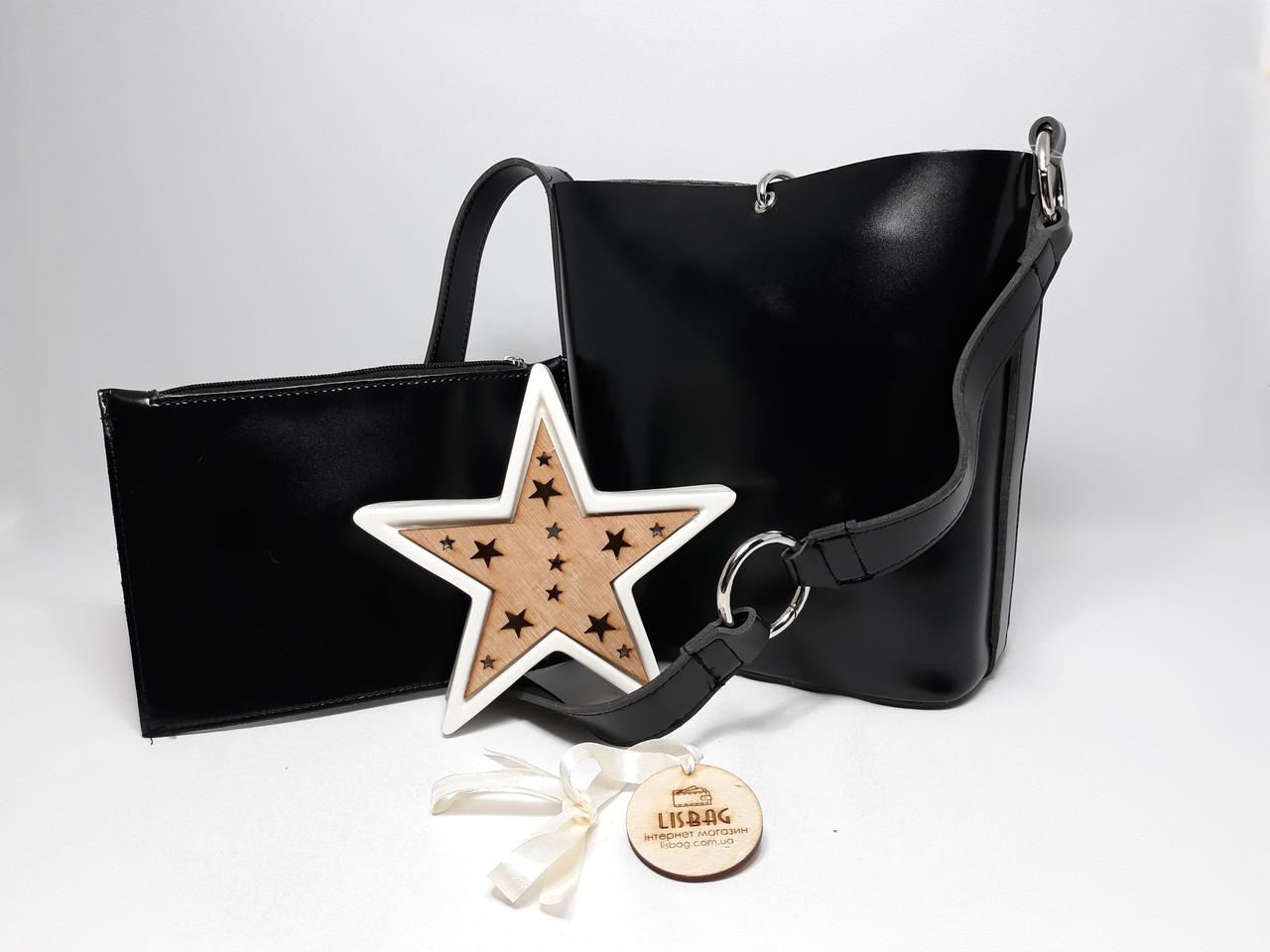 5ebb882ca83d Женская вместительная сумка мешок на плечо новинка, гладкая на ощупь Черная  - Интернет магазин Lisbag