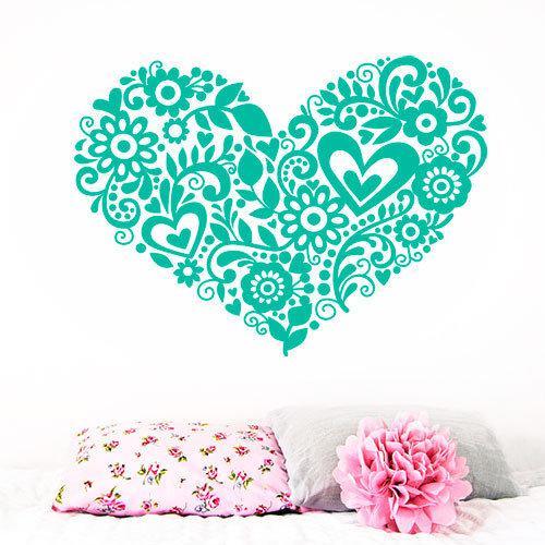 Интерьерная виниловая наклейка Сердечко из узоров (День святого Валентина)