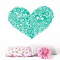 Интерьерная виниловая наклейка Сердечко из узоров (День святого Валентина), фото 1