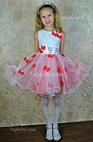 Платье нарядное для девочки 4-7 лет бело-красное Dina1802-21/025