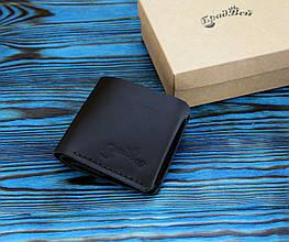Кожаный кошелек с отделением для мелочи (281009) - черный