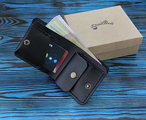 Кошелек БрадВей кожаный с отделением для мелочи чёрный (281009), фото 2