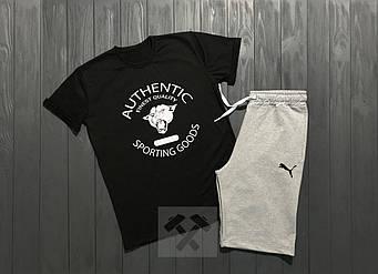 Мужской комплект футболка + шорты Puma черного и серого цвета