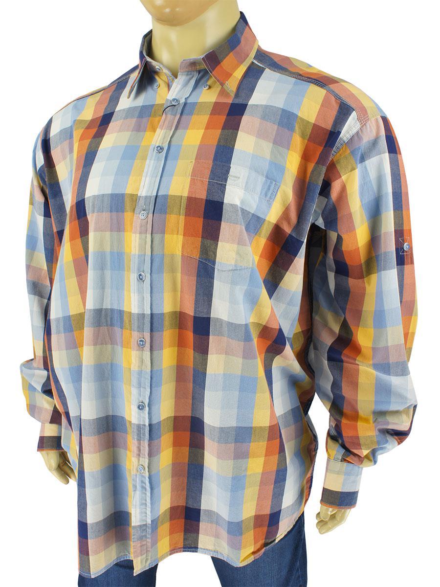 Чоловіча сорочка Barcotti 0660 B indigo 100 % бавовна великих розмірів