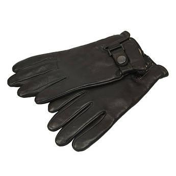 Шкіряні чоловічі рукавиці Elma 0360 темно-коричневого кольору