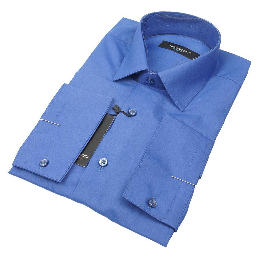 Приталена чоловіча сорочка Negredo 30275 Slim в синьому кольорі