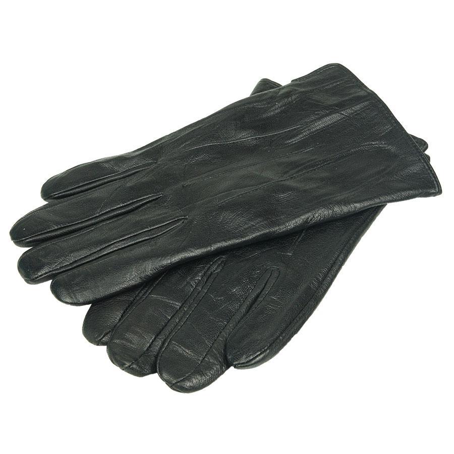 Чорні чоловічі шкіряні рукавиці Зимушка 26015