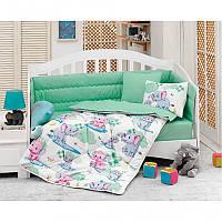 Постельное белье в кроватку Cotton Box Elefant mint с одеялом и защитой