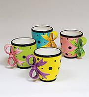 """Фарфоровый набор из 4 чайных чашек """"Бантик"""" (Pavone) CMS - 50/ 4"""