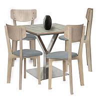 Комплект 4 стула и стол Barsky BMS-05 / Status 01/1 grey