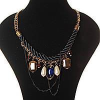 [10-25 мм] Колье золотая цепь, черный канат украшен подвесками, камнями стразами Код:368127460