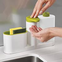 Органайзер для раковины с дозатором для мыла и бутылочкой 3в1