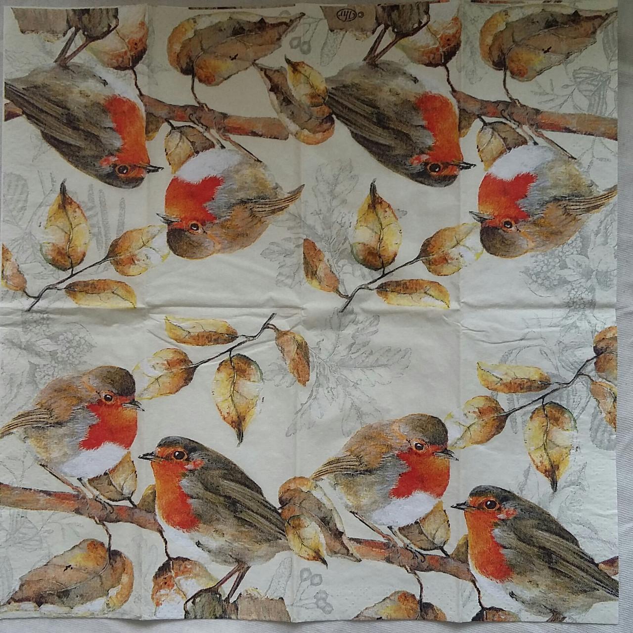 "Салфетка для декупажа ""Птички-синички"", 25х25 см, 6"